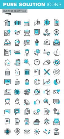 Nowoczesne cienka linia płaska ikony zestaw komunikacji biznesowej i technologii, przedmiotów biurowych, reklamy internetowej i bezpieczeństwa, podstawowe informacje o firmie. Zarys zbiór ikon graficznej internetowej.