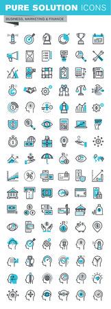 ligne mince icônes du design plat modernes mis de la stratégie commerciale, la planification, l'analyse, e-banking, m-banking, l'investissement, les ressources humaines, l'expérience des personnages. Outline collection d'icônes pour la bannière web.