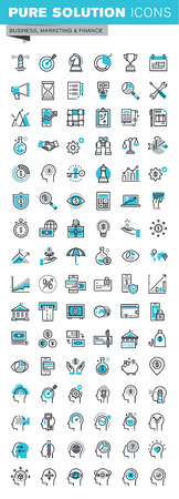 Modern thin line flat design icons set of business strategy, planning, analysis, e-banking, m-banking, investment, human resources, character experience. Outline icon collection for web graphic.