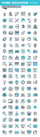 Iconos del diseño de línea delgada planas modernas Conjunto de diseño gráfico, diseño web, la fotografía, el diseño industrial, marca, diseño, identidad corporativa, papelería, diseño de producto, aplicación y desarrollo de sitios web, optimización. Colección del icono del contorno de gráfico Web. Foto de archivo - 53140017