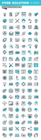 icons set: Modern thin line flat design icons set of graphic design, web design, photography, industrial design, branding, design, corporate identity, stationary, product design, app and website development, optimization. Outline icon collection for web graphic.