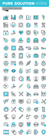 Modern thin line flat design icons set of medical supplies, healthcare diagnosis and treatment, laboratory tests, dental services, equipment and products. Outline icon collection for web graphic.