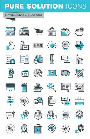 オンライン ショッピング、オンライン決済とセキュリティ、製品の配送、カスタマー サポートのモダンな細い線のフラットなデザイン アイコンを