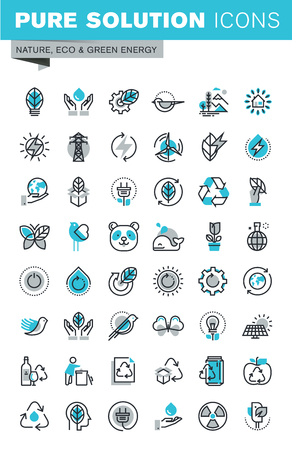 Modern thin line flat design icons set of ecology, nature, recycling, waste management, green energy and technology. Outline icon collection for web graphic.