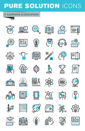 Iconos del diseño de línea delgada planas modernas conjunto de la educación en línea, tutoriales de vídeo, e-libro, la ciencia, proceso creativo, universidad y cursos. Colección del icono del contorno de gráfico Web. Ilustración de vector
