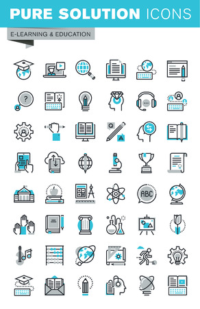 Modern thin line flat design icons set of online education, video tutorials, e-book, science, creative process, university and courses. Outline icon collection for web graphic.