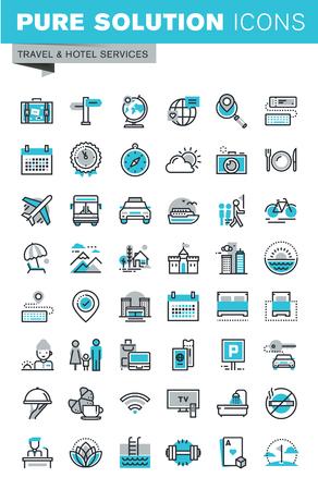 여행 및 관광 기호 및 개체, 휴가 여행 계획, 호텔 서비스, 숙박 시설의 집합 현대 얇은 라인 평면 디자인 아이콘. 웹 그래픽에 대한 개요 아이콘 모음.