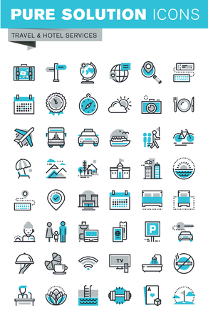 excursions: Modern thin line flat design icons set of travel and tourism sign and object, holiday trip planning, hotel services, accommodation. Outline icon collection for web graphic.