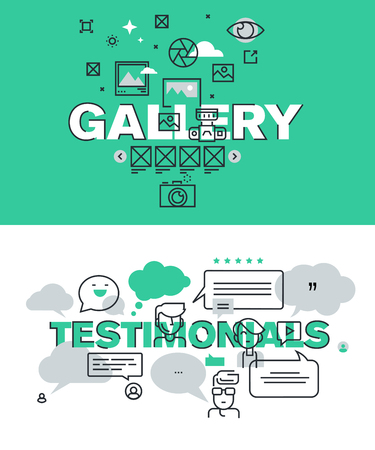 website words: Set of modern illustration concepts of words gallery and testimonials. Thin line flat design for website and mobile website, easy to use and highly customizable. Illustration