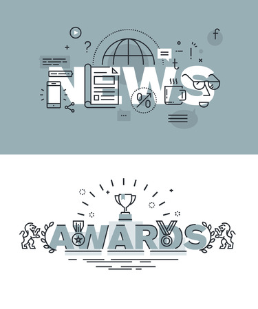 website words: Set of modern illustration concepts of words news and awards. Thin line flat design for website and mobile website, easy to use and highly customizable.