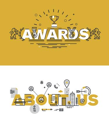 reconocimientos: Conjunto de modernos conceptos de ilustración de premios palabras y sobre nosotros. diseño plano delgada línea para el sitio web y el sitio web móvil, fácil de usar y altamente personalizable. Vectores
