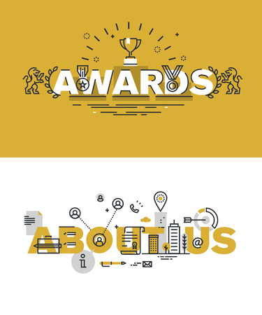 Set of modern illustration concepts of words awards and about us. Thin line flat design for website and mobile website, easy to use and highly customizable.