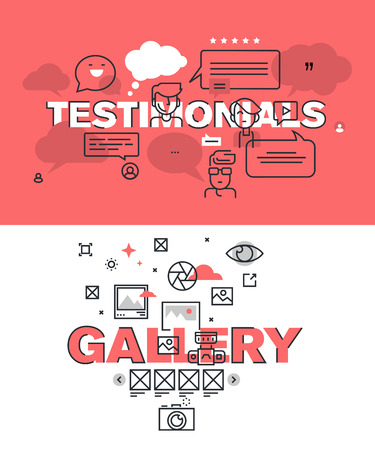 website words: Set of modern illustration concepts of words testimonials and gallery. Thin line flat design for website and mobile website, easy to use and highly customizable. Illustration