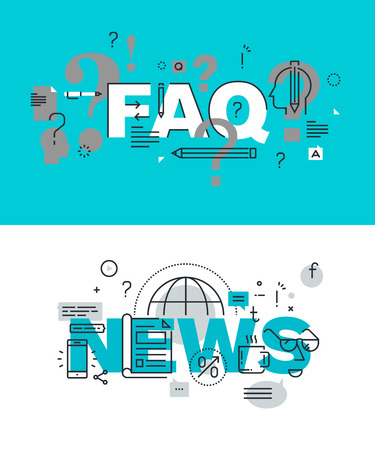 frequently asked question: Set of modern illustration concepts of words FAQ and news. Thin line flat design for website and mobile website, easy to use and highly customizable.