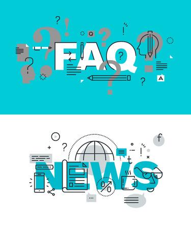Set van moderne illustratie concepten woorden FAQ en nieuws. Dunne lijn plat ontwerp voor de website en de mobiele website, makkelijk te gebruiken en in hoge mate aanpasbaar.