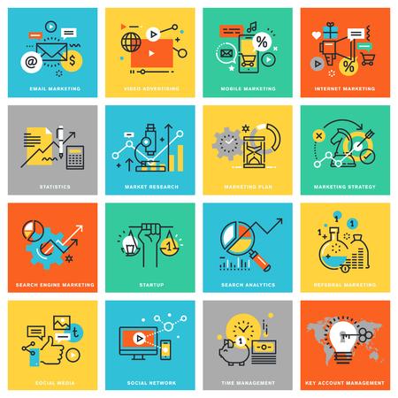línea delgada iconos del diseño de piso en marketing digital, las diferentes categorías de marketing y publicidad, medios de comunicación social y de la red, el análisis y la planificación, la estrategia de marketing. Iconos para web y aplicaciones de diseño Ilustración de vector