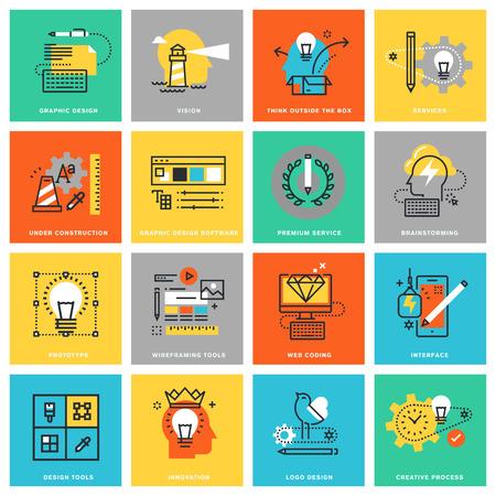 prototipo: planas iconos modernos de diseño de líneas finas para los servicios de diseño gráfico y web y herramientas, la innovación y el proceso creativo. Iconos para web y aplicaciones de diseño, fácil de usar y altamente personalizable. Vectores