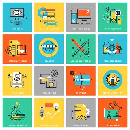 planas iconos modernos de diseño de líneas finas de identidad corporativa, proceso de diseño gráfico, estudios de mercado, diseño web y desarrollo de aplicaciones. Iconos para web y aplicaciones de diseño, fácil de usar y altamente personalizable.