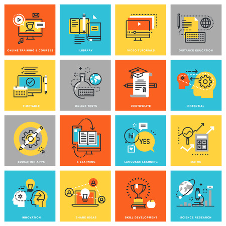 オンライン教育、学習と訓練のインターネット経由での各種のモダンな細い線フラットなデザイン アイコン。Web とアプリのアイコン デザイン、使
