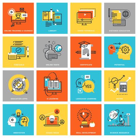Moderne dunne lijn plat design iconen voor online onderwijs, diverse mogelijkheden voor leren en opleiding via het internet. Pictogrammen voor web en app-design, eenvoudig te gebruiken en in hoge mate aanpasbaar.