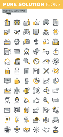 Modern vector thin line business icons collection. Set of modern vector logo pictogram and infographic design elements. Outline icon collection for website and app design.
