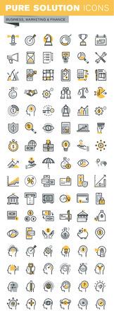 現代ベクトル細い線のビジネスと金融のアイコンのセットです。モダンなベクトルのロゴの絵文字やインフォ グラフィックはデザイン要素のコレク