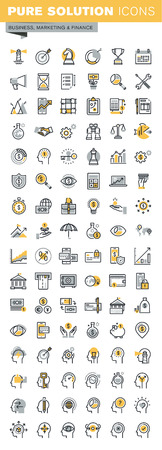Set of modern vector thin line business and finance icons. Modern vector logo pictogram and infographic design elements collection. Outline icon collection for website and app design.