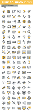 Set of modern vector thin line design and website development icons. Modern vector logo pictogram and infographic design elements collection. Outline icon collection for website and app design.