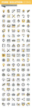 programing: Set of modern vector thin line design and website development icons. Modern vector logo pictogram and infographic design elements collection. Outline icon collection for website and app design.