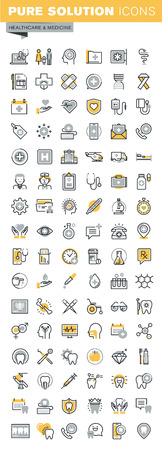 Set of modern vector thin line healthcare and medicine icons. Modern vector logo pictogram and infographic design elements collection. Outline icon collection for website and app design. 向量圖像