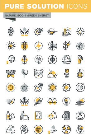 biosphere: Set of modern vector thin line ecology icons. Modern vector logo pictogram and infographic design elements collection. Outline icon collection for website and app design. Illustration
