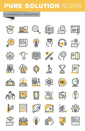 현대 벡터가는 선 교육 아이콘의 집합입니다. 현대 벡터 로고 그림과 인포 그래픽 디자인 요소의 컬렉션입니다. 웹 사이트 및 앱 디자인을위한 아이콘 모음 개요.