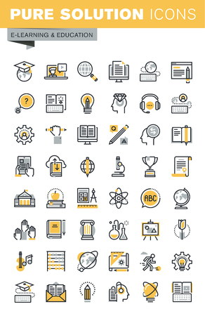 sciences: Set of modern vector thin line education icons. Modern vector logo pictogram and infographic design elements collection. Outline icon collection for website and app design.