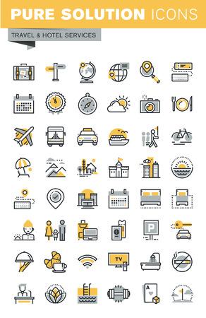 Conjunto de iconos vectoriales de viajes de línea delgada moderna. Pictograma moderno de la insignia del vector y colección infographic de los elementos del diseño. Colección de iconos de esquema para el diseño de sitios web y aplicaciones. Ilustración de vector