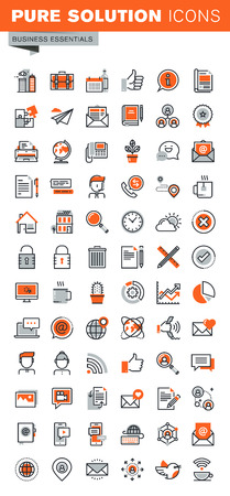 Set of thin line web icons for graphic and web design and development. Icons of basic business tools, mobile and internet services, company contact information, modern communication, navigation. Illustration