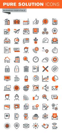 Ensemble de ligne d'icônes Web minces pour la conception et le développement graphique et web. Les icônes des outils de base d'affaires, des services mobiles et Internet, coordonnées de l'entreprise, la communication moderne, de la navigation.