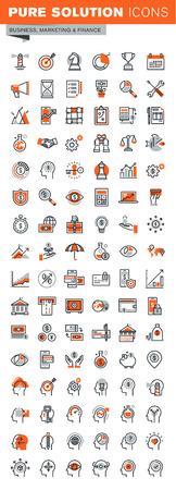 Set di icone sottile linea web per la progettazione grafica e web e lo sviluppo. Icone di soluzioni di business, bancario, trasferimento di denaro, pagamento on-line e di sicurezza, ricerche di mercato, di processo cervello umano.