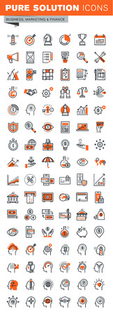 savings: Set of thin line web icons for graphic and web design and development. Icons of business solutions, banking, money transfer, online payment and security, market research, human brain process.