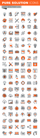 Set of thin line web icons for graphic and web design and development. Icons of app development, cloud computing, website maintenance, online security, seo, data protection, design solutions. Illustration