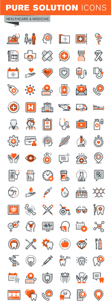 Set of thin line web icons for graphic and web design and development. Icons of clinic and hospital facilities, pharmacy, laboratory tests, medical equipment and supplies, dental care theme