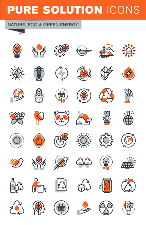 Set of thin line web icons for graphic and web design and development. Icons of environment, green energy, biodegradable materials, nature protection, recycling. Illustration