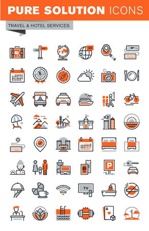 summer break: Set of thin line web icons for hotel services and facilities, online booking, travel information, sport and leisure activities, tours, air travel to cruise, summer and winter vacation, city break.