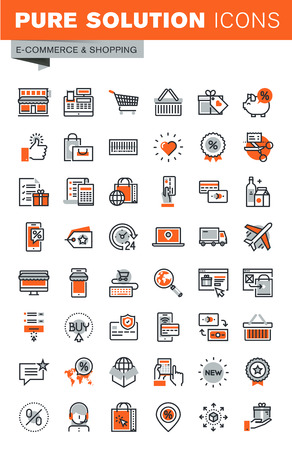 Set of thin line web icons for shopping, online shopping procedure, payment method, internet payment security, delivery, coupons, support. Premium quality outline icon collection. 版權商用圖片 - 54344004