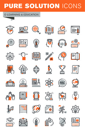 Set of thin line web icons for graphic and web design and development. Icons of e-learning, education, online training and courses, video tutorials, e-book, webinar audio course.