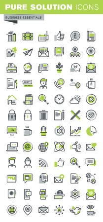 conjunto: iconos de líneas finas conjunto de negocios, equipos de oficina y equipos, las comunicaciones en línea, red social, soporte técnico, servicios móviles. calidad de la captación icono del contorno de primera calidad. Vectores