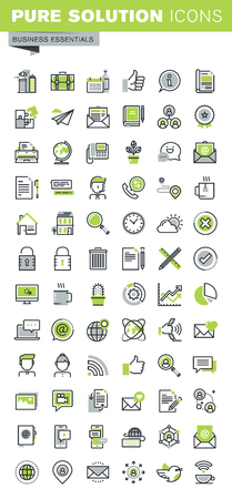 contact icons: Thin line icons set of business, office supplies and equipment, online communications, social network, technical support, mobile services. Premium quality outline icon collection.