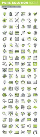 Dunne lijn iconen set van de website en de mobiele website ontwerp en ontwikkeling, responsive design, seo, creatieve workflow, grafisch ontwerp. Premium kwaliteit overzicht icoon collectie.