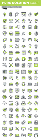 Thin line icons set of website and mobile website design and development, responsive design, seo, creative workflow, graphic design. Premium quality outline icon collection.