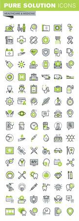 医療と医学のテーマ、オンライン医療支援、家族の健康管理、歯科治療、診断、治療、健康保険の細い線のアイコンを設定します。プレミアム品質