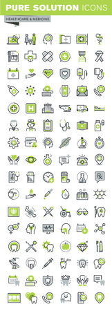 medical treatment: Thin line icons set of health care and medicine theme, online medical support, family health care, dental treatment, diagnosis and treatment, health insurance. Premium quality outline icon collection. Illustration